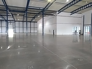 Dark polished concrete floor